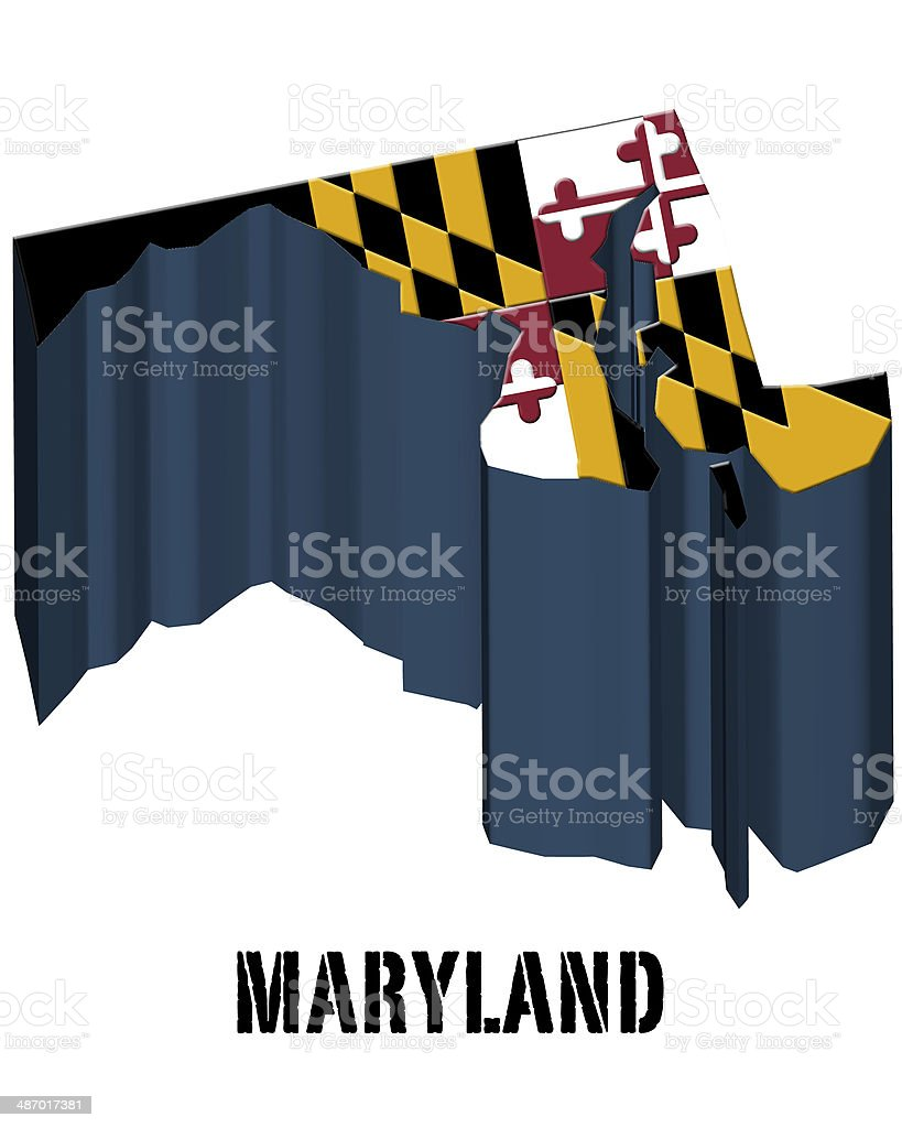 3D flag State of Maryland United States America vector art illustration