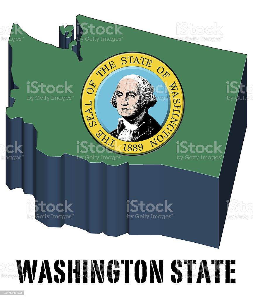3D flag State of Washington United States America vector art illustration