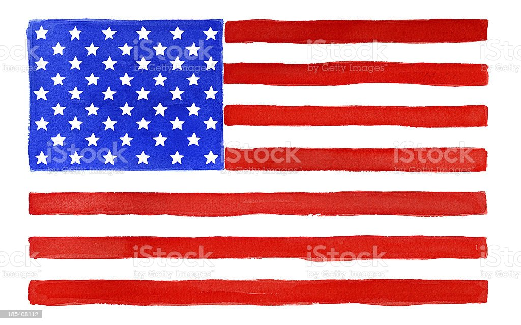 USA flag watercolor vector art illustration