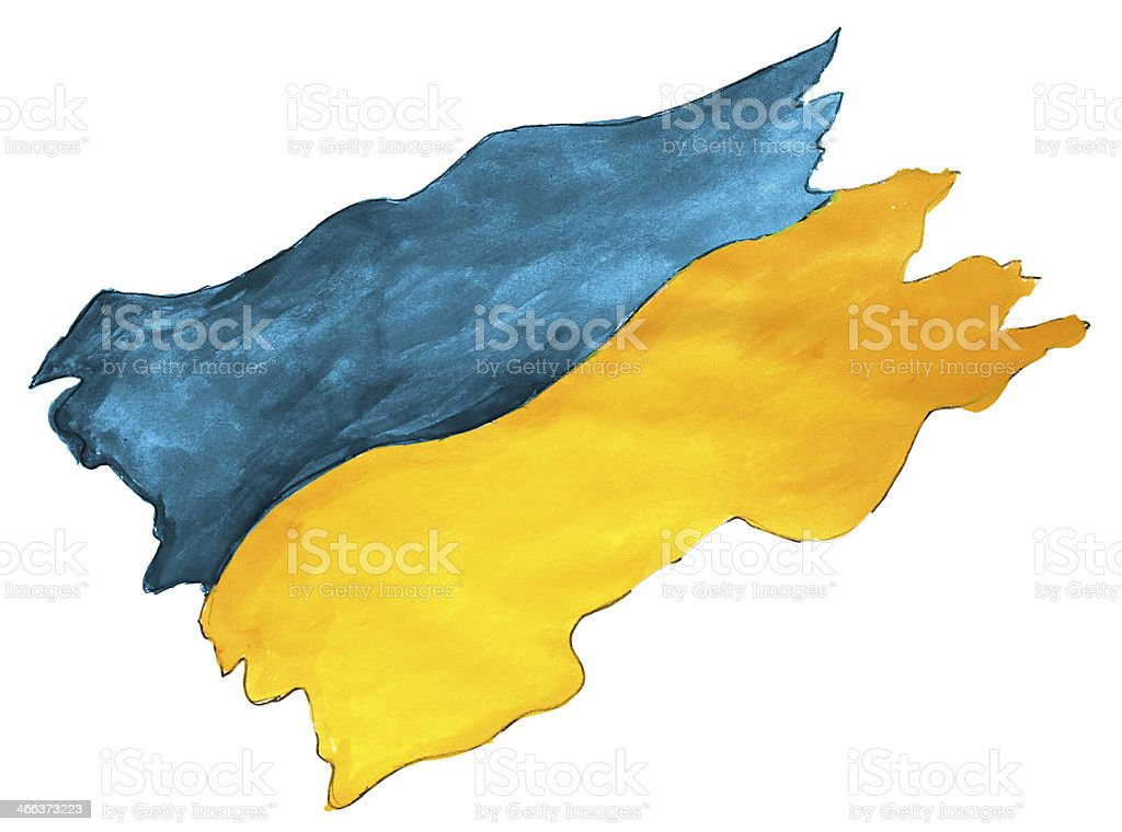 flag watercolor ukraine ukrainian nation drawing brushstroke nat royalty-free stock vector art