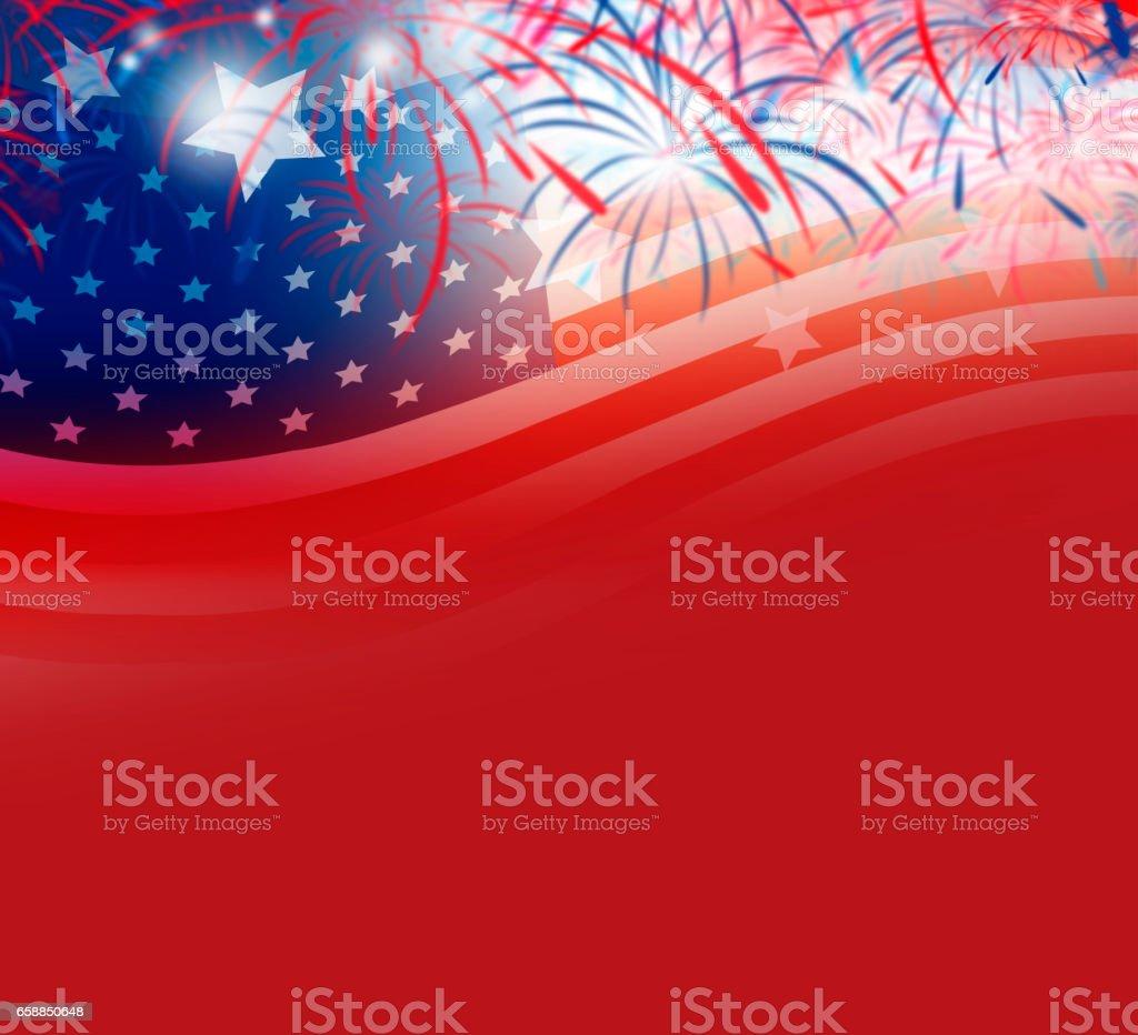 USA flag with firework background design vector art illustration