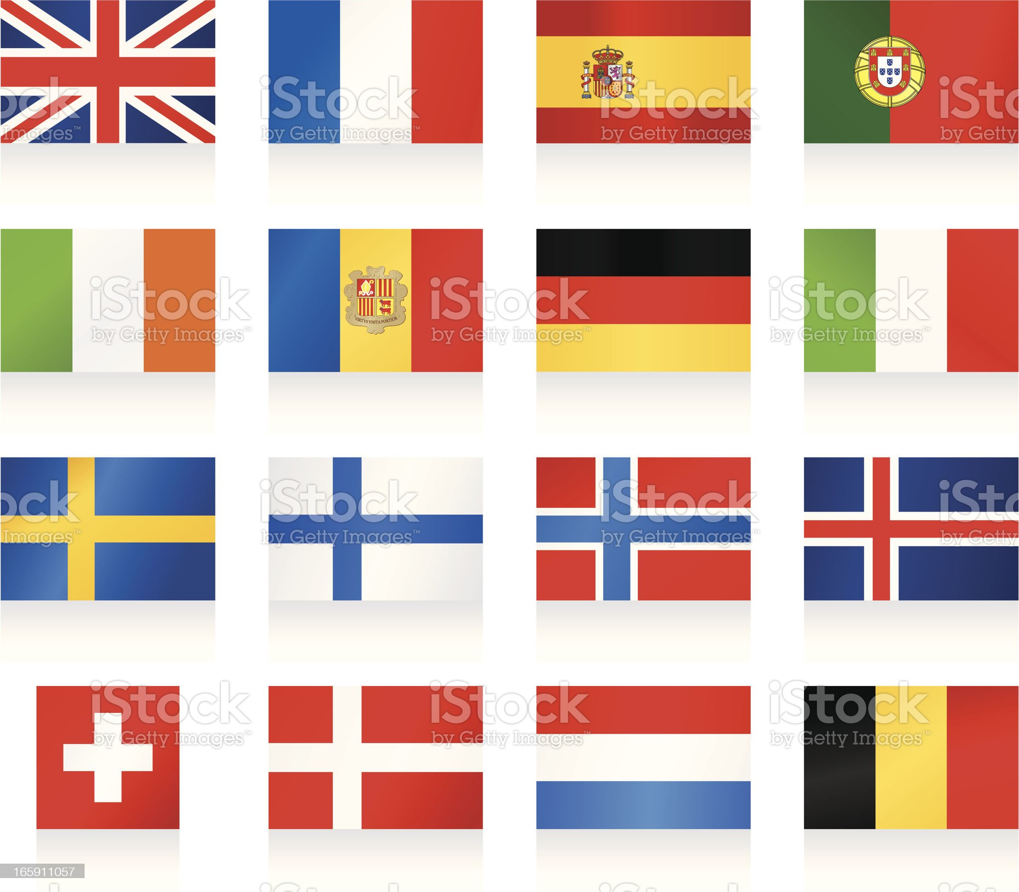 Flags collection 1 - Western and Nothern Europe royalty-free stock vector art