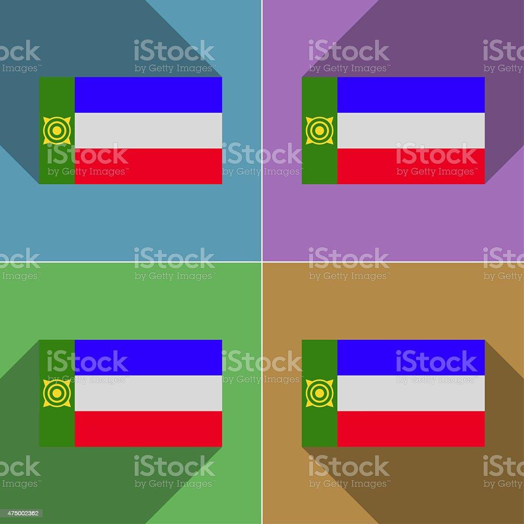 Flags Khakassia. Set of colors flat design and long shadows. vector art illustration