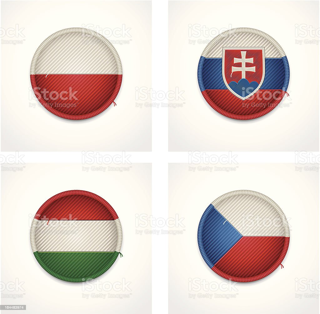 Flags of countries as fabric badges royalty-free stock vector art