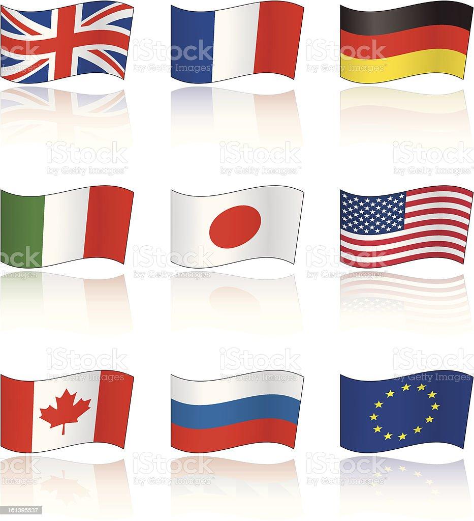 Flags of G8 members royalty-free stock vector art