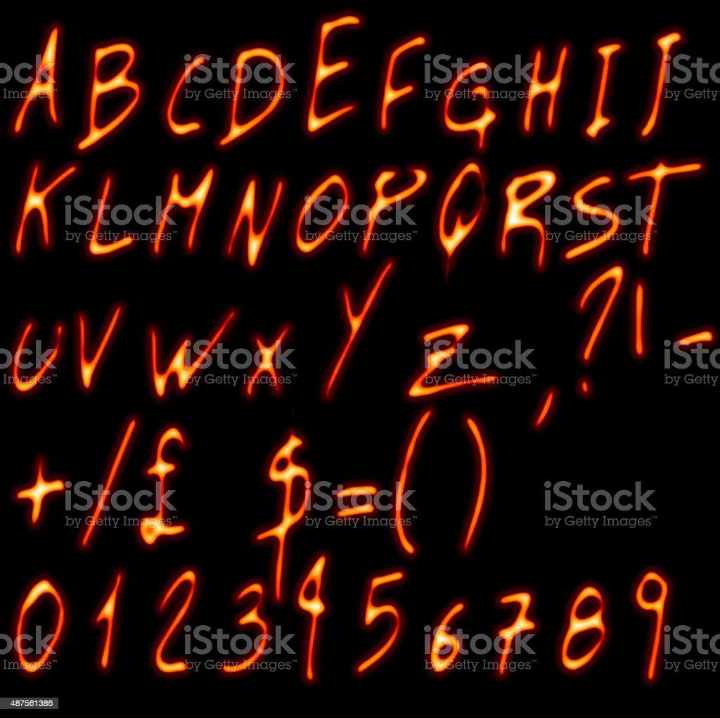 Flame Alphabet vector art illustration