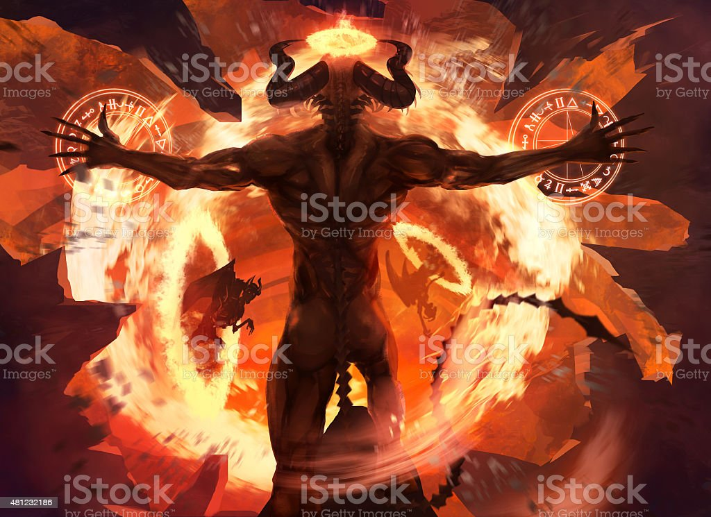 Flame demon. vector art illustration