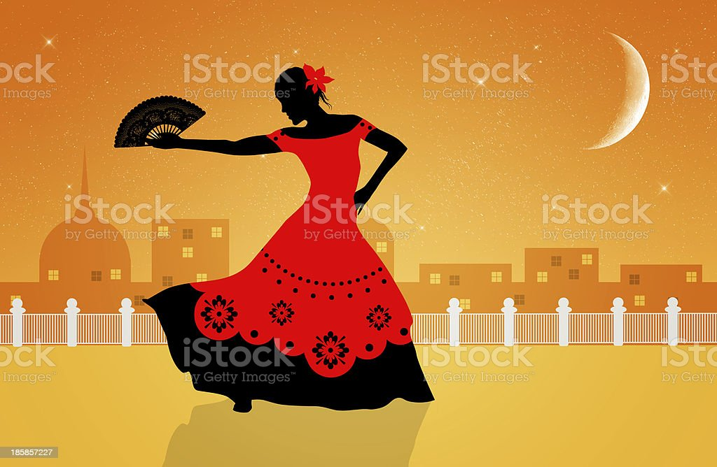 flamenco dancer vector art illustration