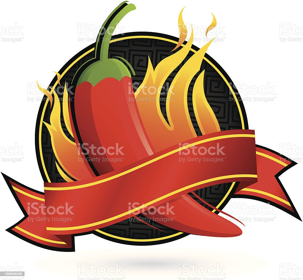 Flaming Pepper Banner royalty-free stock vector art