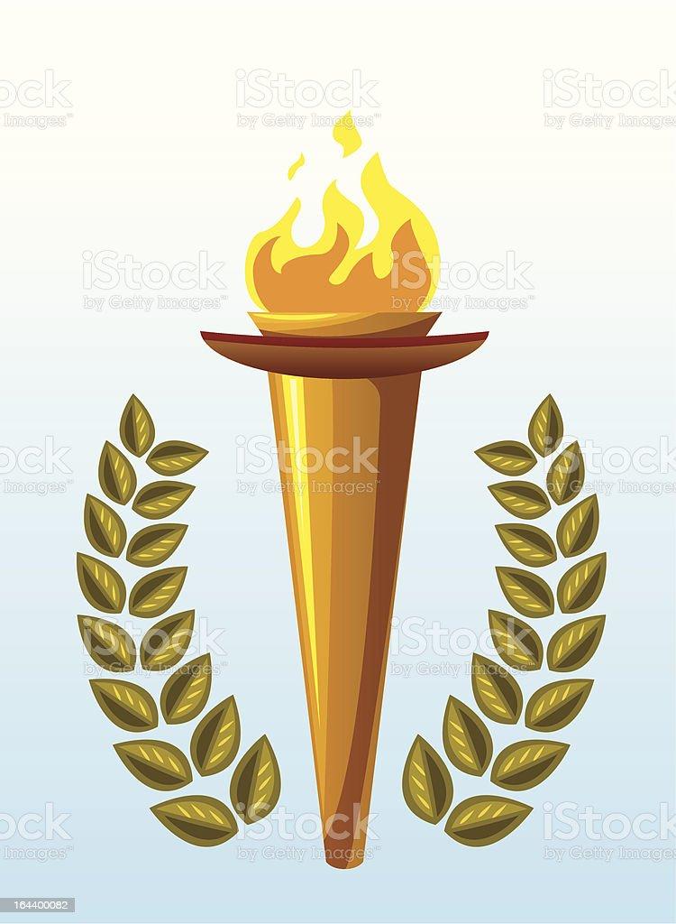 Flaming torch vector art illustration