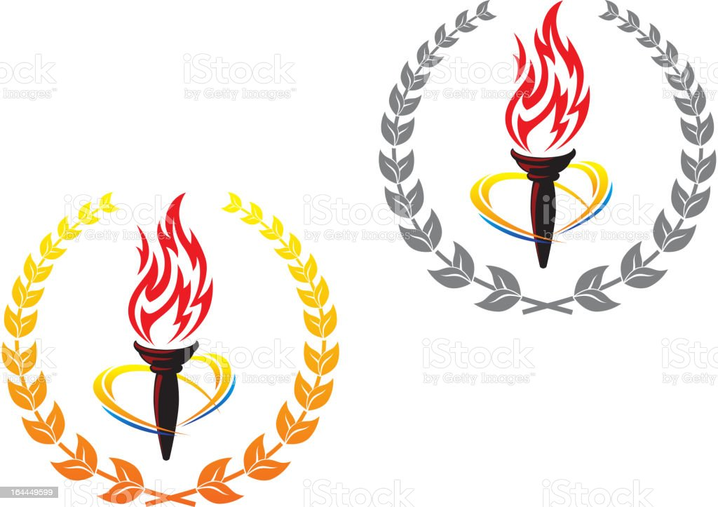 Flaming torches in laurel wreathes vector art illustration