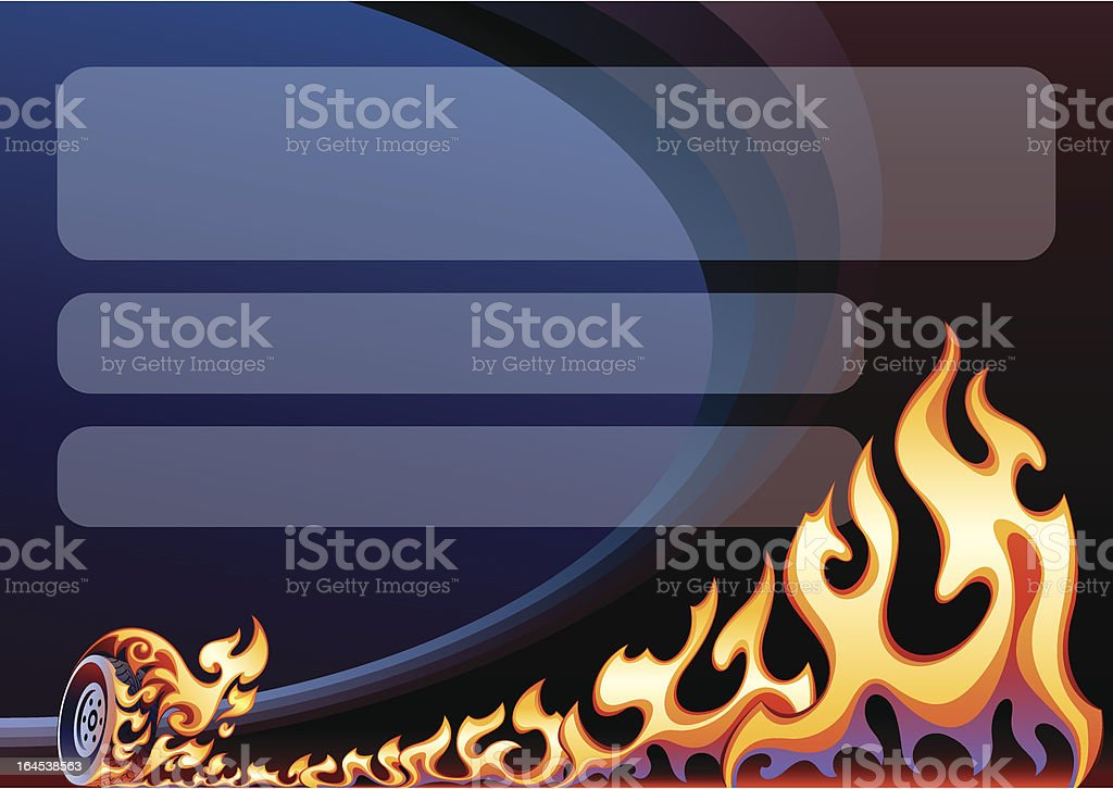 Flaming wheel on arena vector art illustration