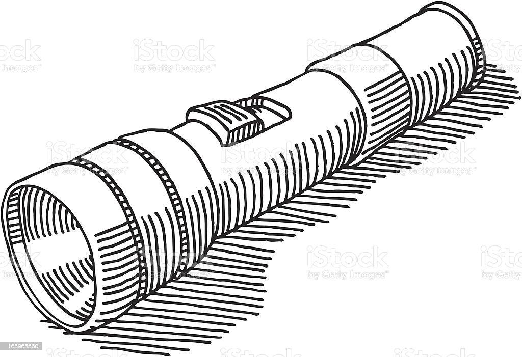 Flashlight Drawing vector art illustration