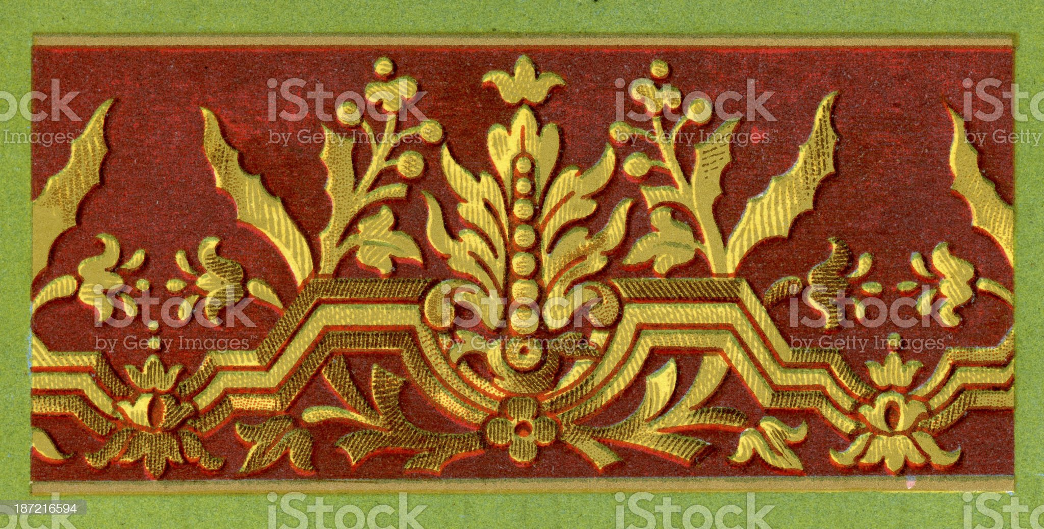 Flat Embroidery Pattern - 17th Century royalty-free stock vector art