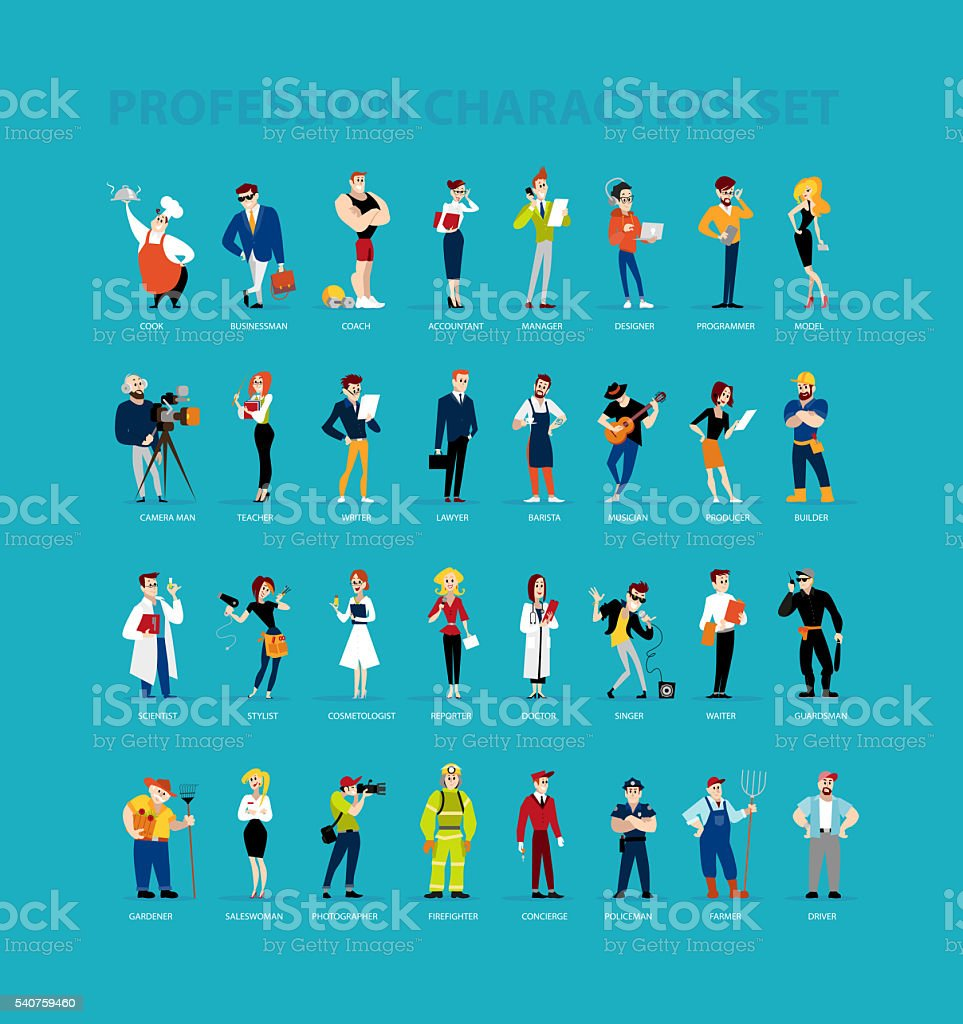 flat profession characters. vector art illustration