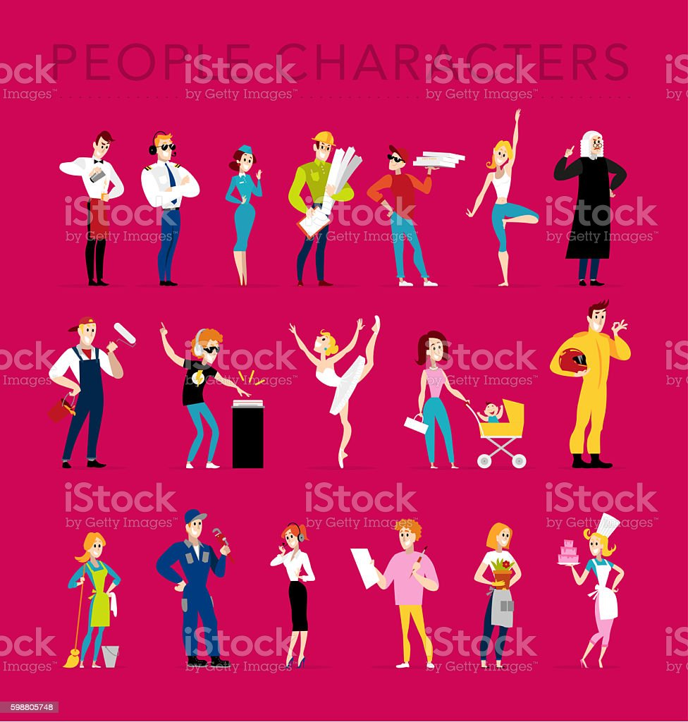 Flat profession characters. vector art illustration