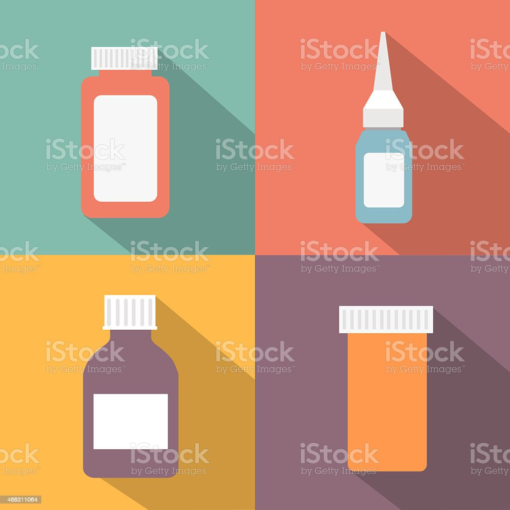 Flat style medical pharmaceutical bottles glasses containers scales icon set vector art illustration