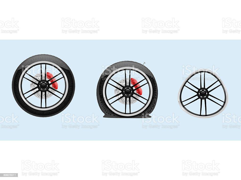 Flat Tire and Dented Rim (Vector) vector art illustration