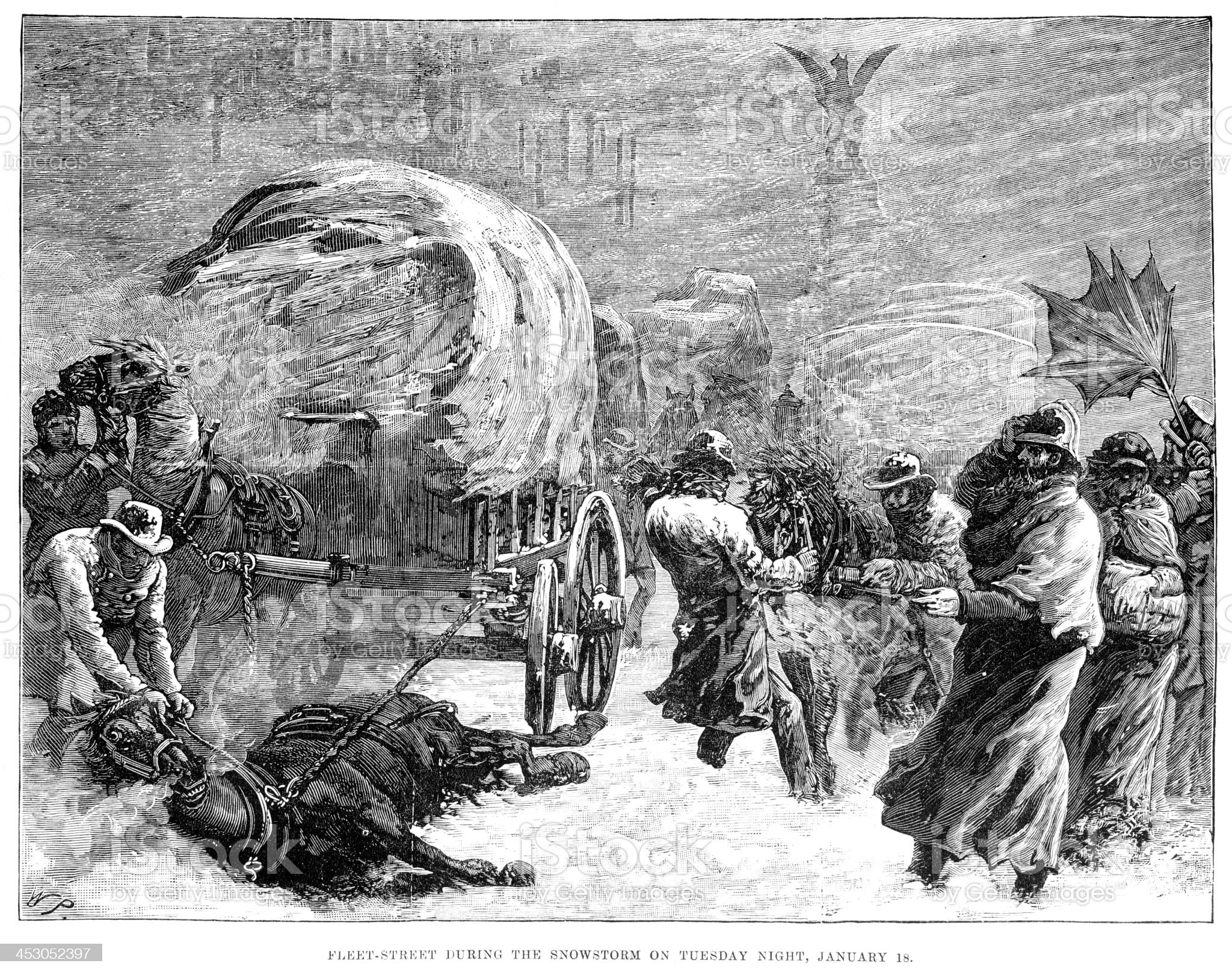 Fleet Street during the Snowstorm royalty-free stock vector art