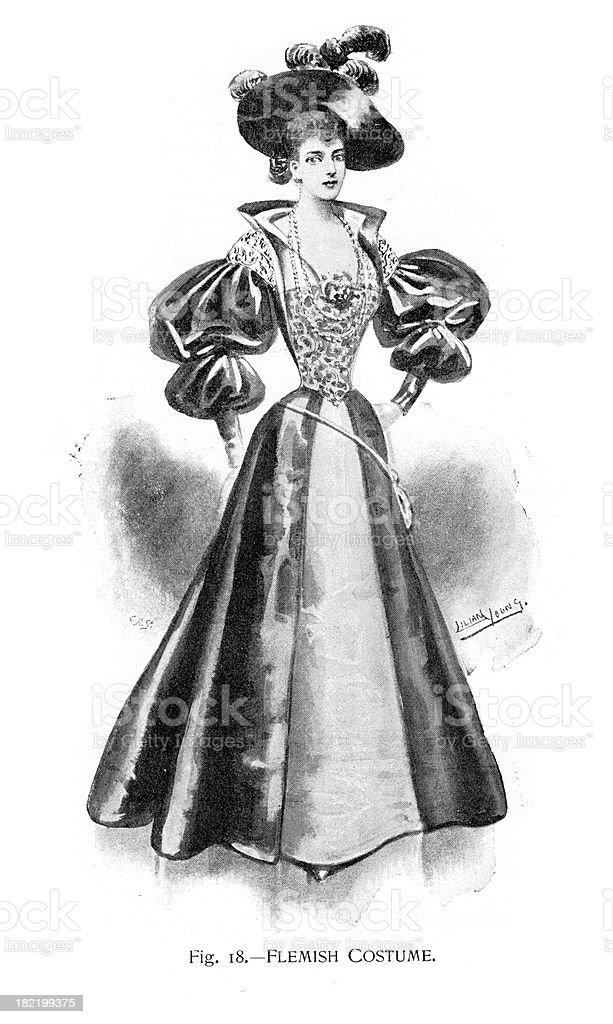 Flemish Costume vector art illustration