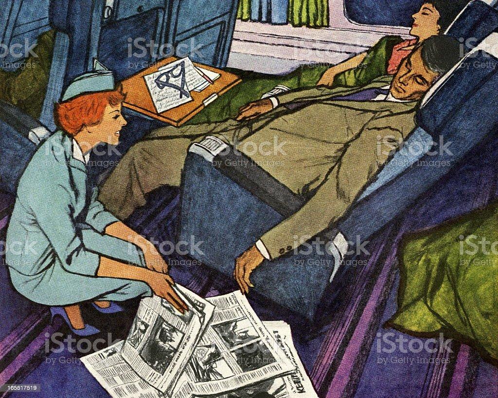 Flight Attendant and Two Sleeping Passengers vector art illustration