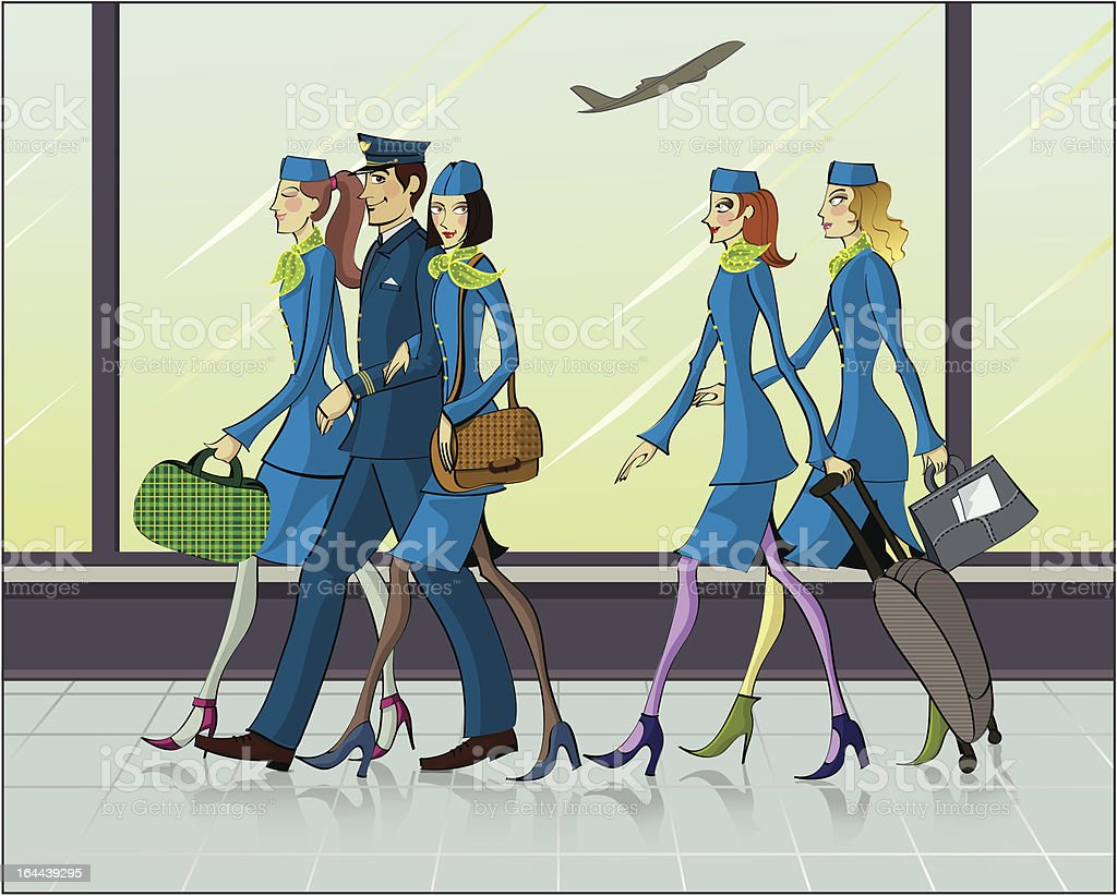 Flight attendants and one pilot aboard the plane are royalty-free stock vector art