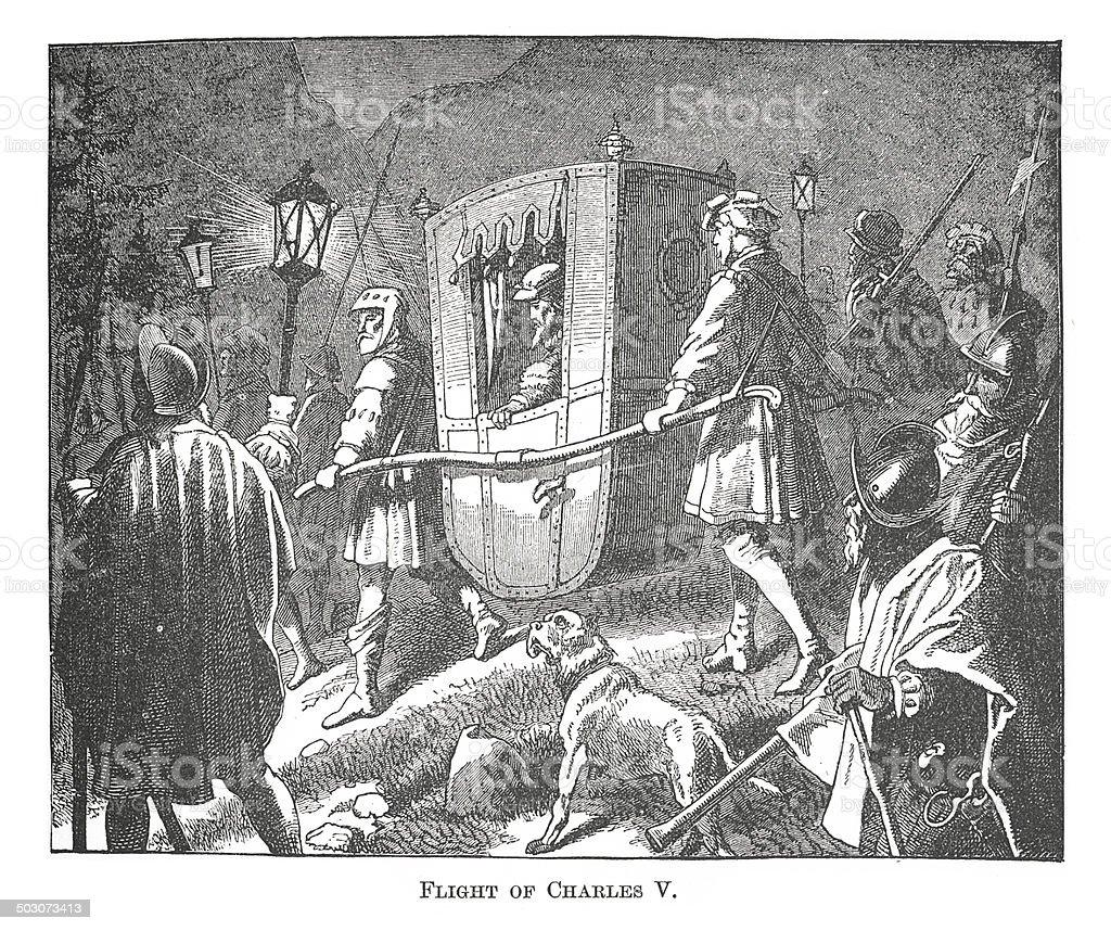 Flight of Charles V. (antique engraving) vector art illustration
