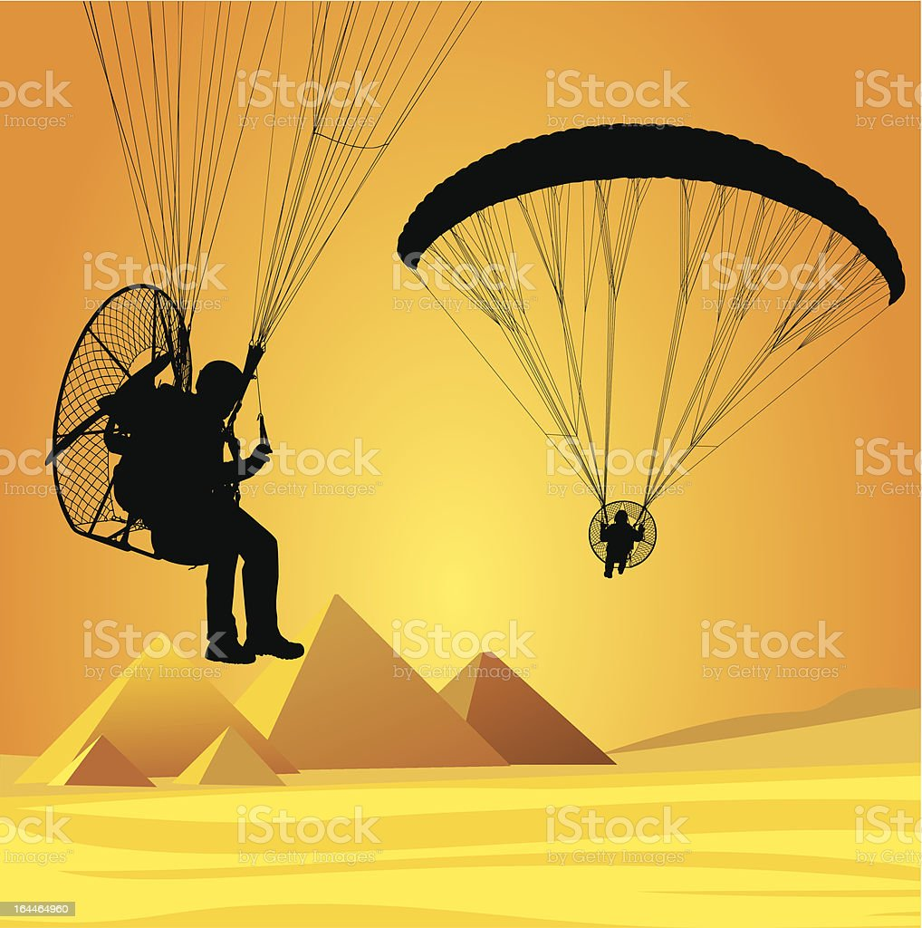 Flight over Cairo with paramotor royalty-free stock vector art