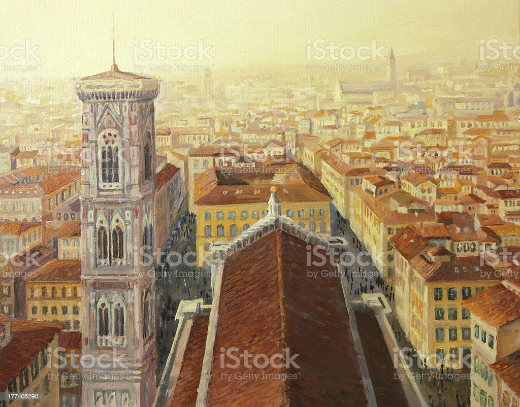 Flight over Florence royalty-free stock vector art