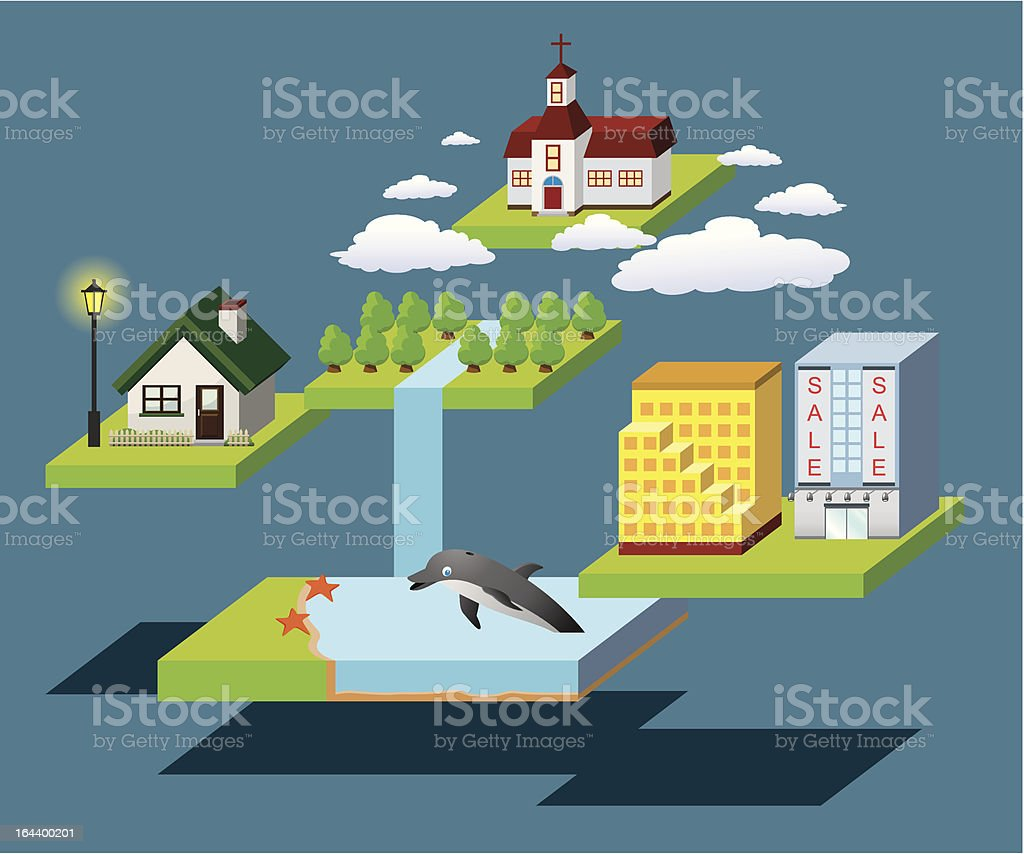 Floating City royalty-free stock vector art