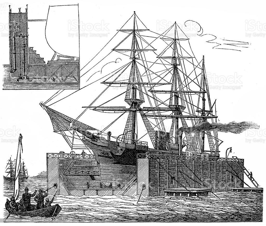Floating Dock vector art illustration