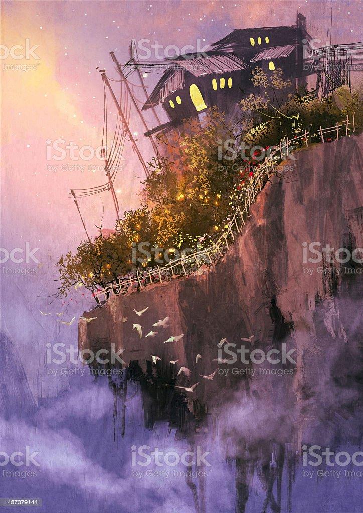 floating islands in the sky vector art illustration