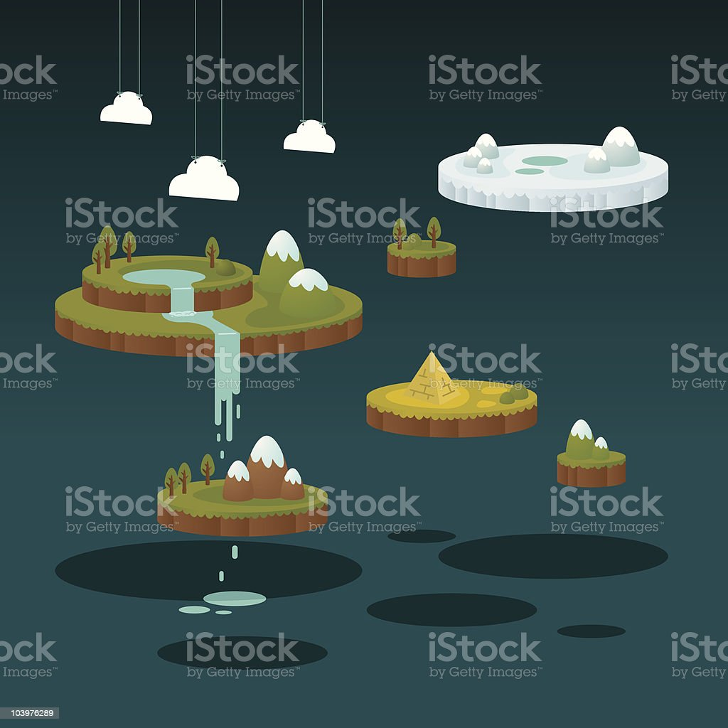 Floating micro world royalty-free stock vector art