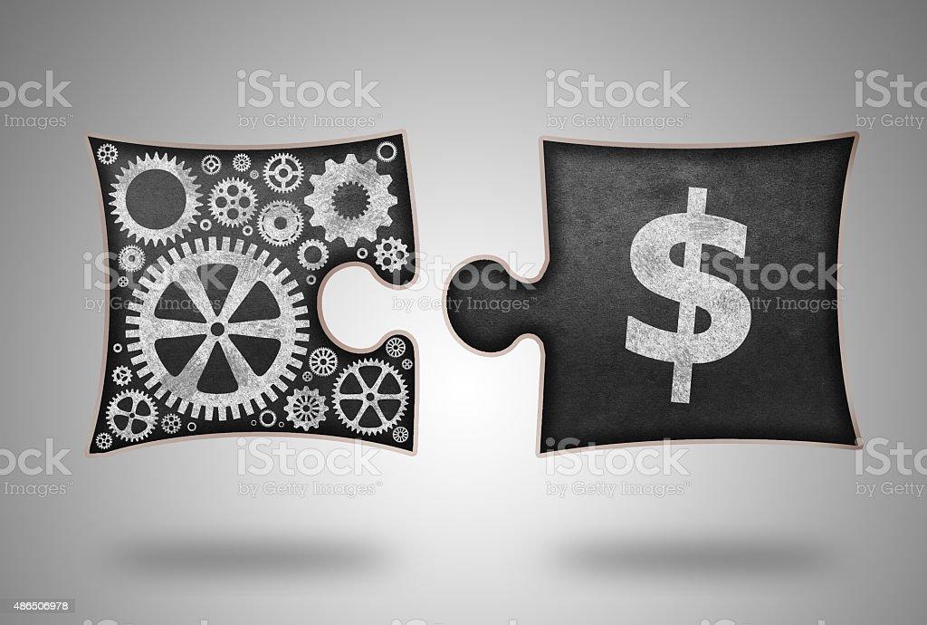 Floating Puzzle Shape Blackboard Concept for Making Money vector art illustration