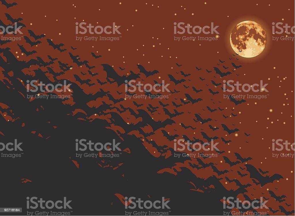 Flock of bats flying toward the full moon vector art illustration