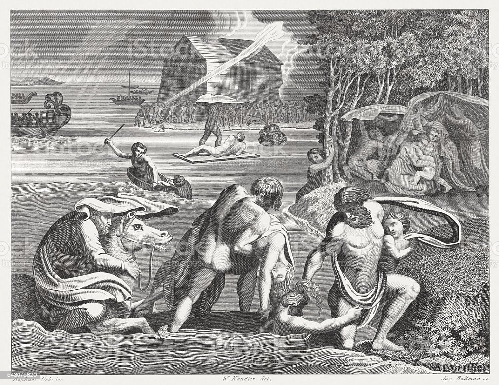 Flood (Genesis 7), steel engraving, published in 1841 vector art illustration