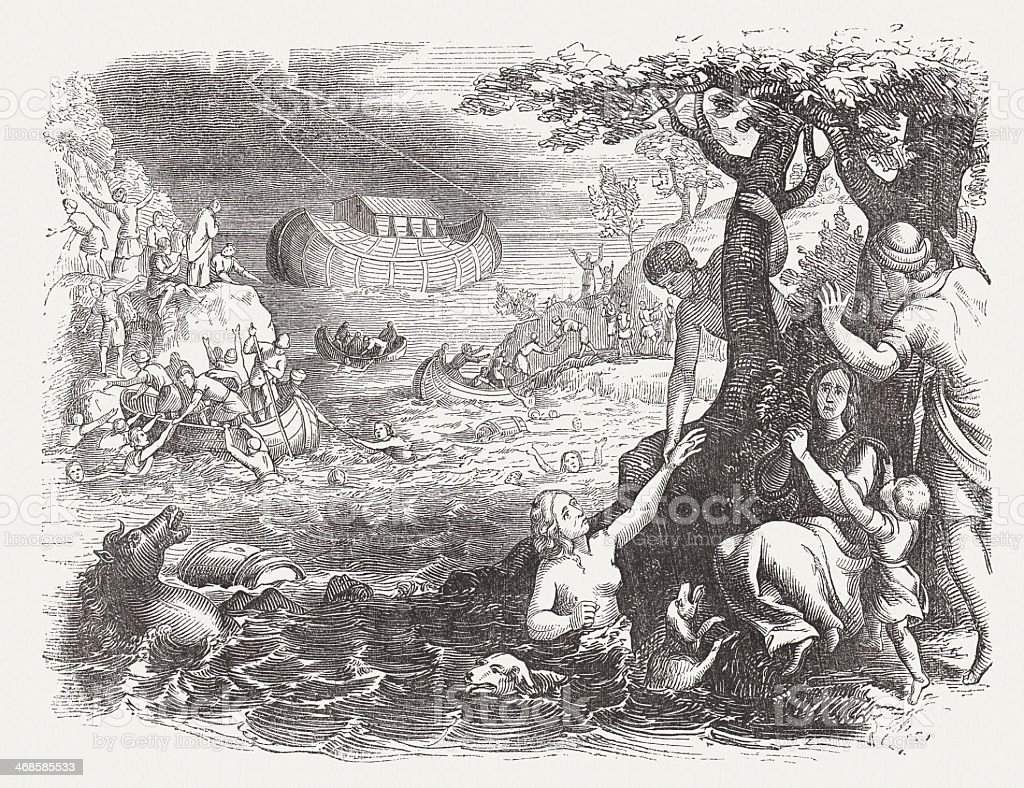 Flood (Genesis 7, 17-24), wood engraving, published in 1864 royalty-free stock vector art