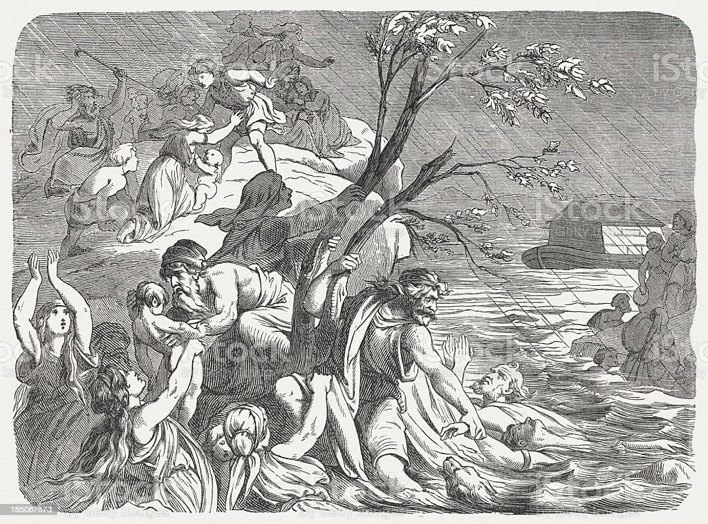 Flood (Genesis 7, 19-24), wood engraving, published in 1877 royalty-free stock vector art