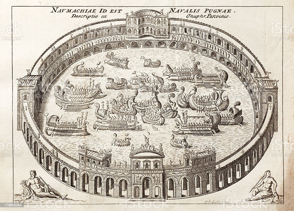 Flooded Roman Amphitheatre vector art illustration