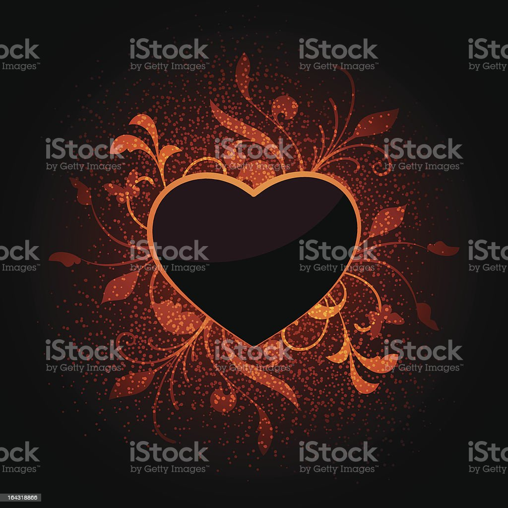 Floral abstract with heart royalty-free stock vector art