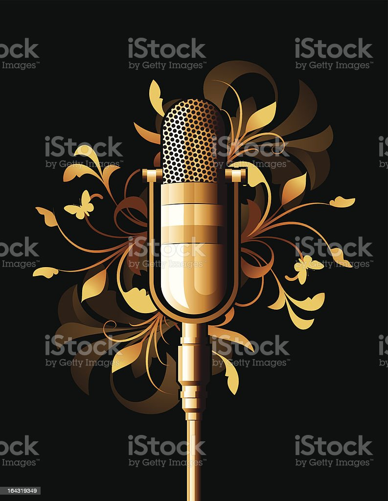 Floral abstract with microphone royalty-free stock vector art