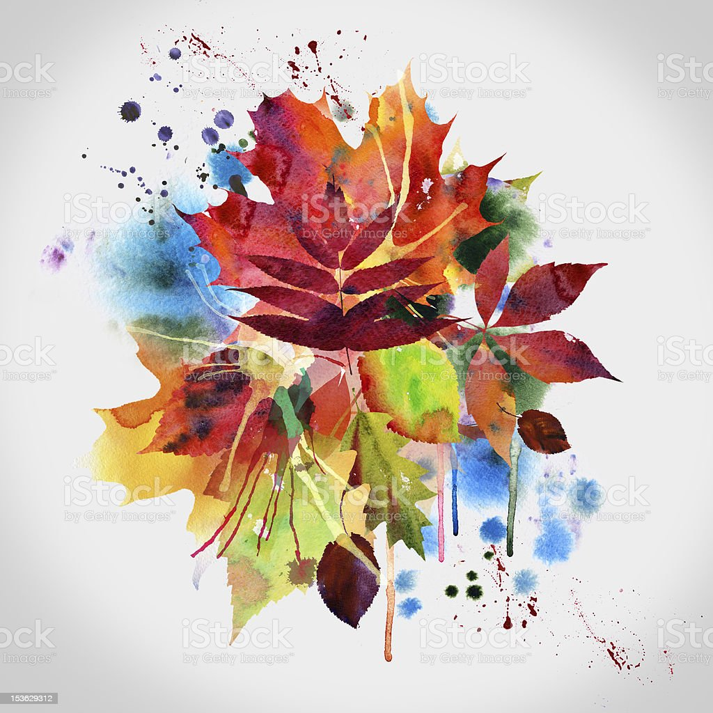 Floral autumn design, watercolor painting royalty-free stock vector art