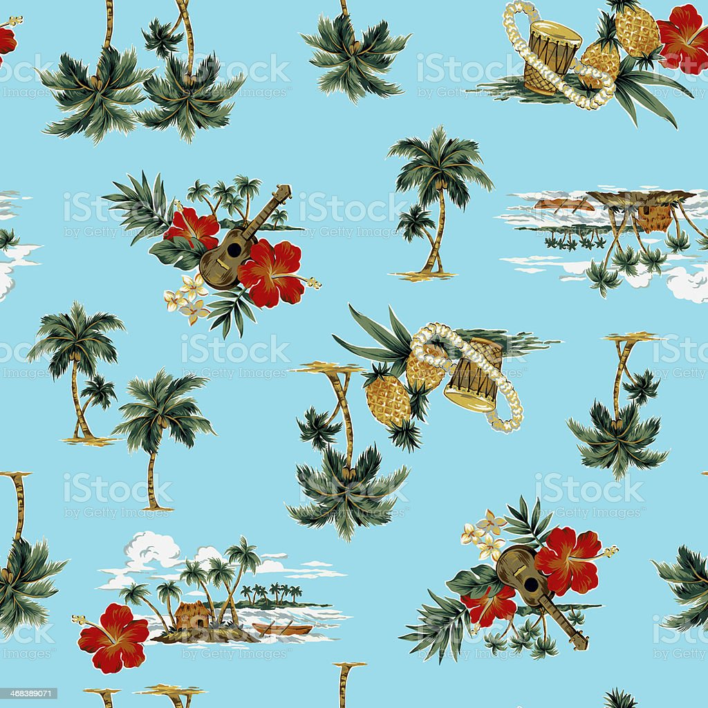 A floral beautiful Hawaiian print pattern vector art illustration