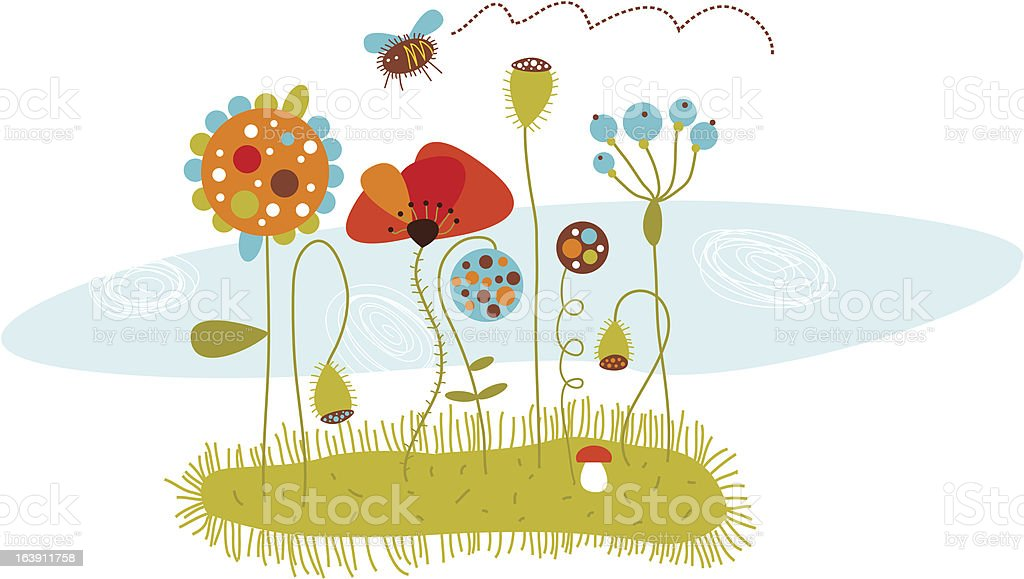 floral composition with a bee royalty-free stock vector art