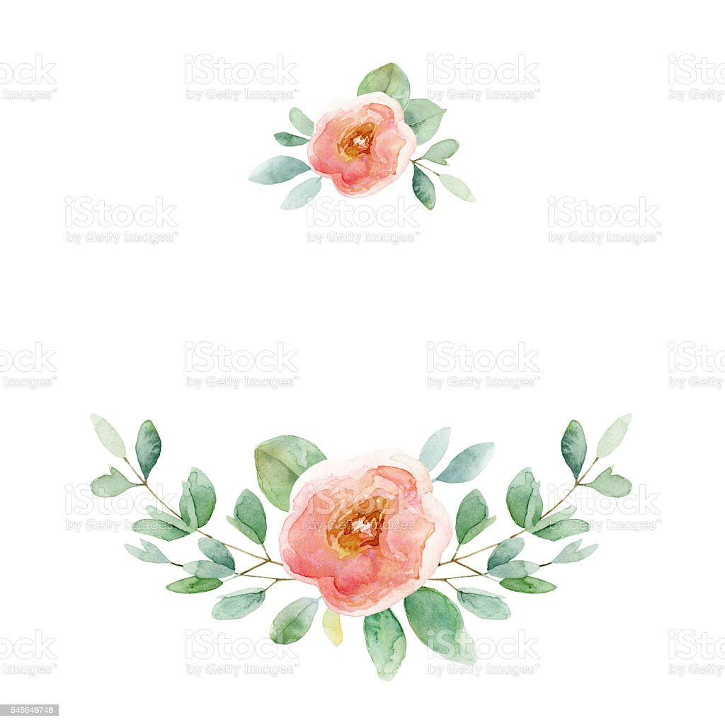 Floral composition with rose and leaves vector art illustration