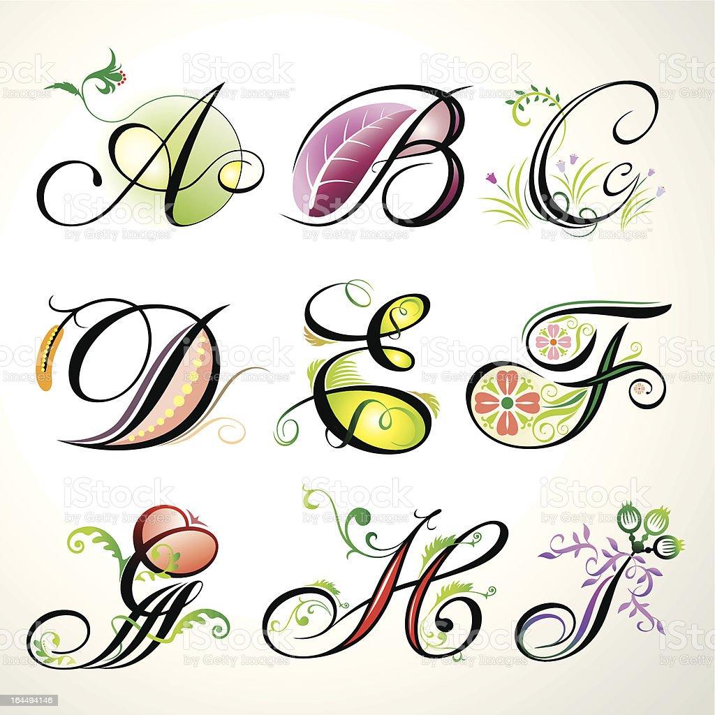 Floral Decorative Elements royalty-free stock vector art