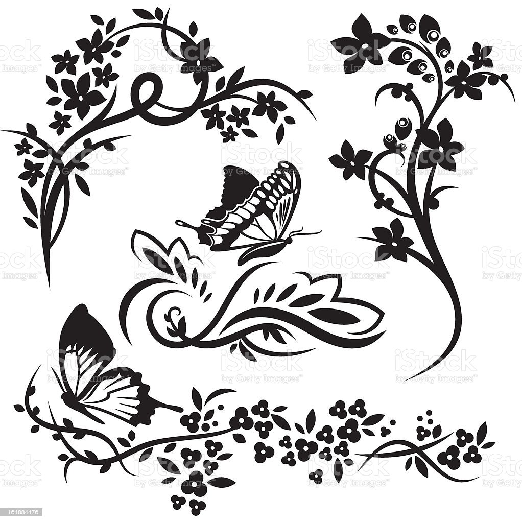 Floral Design Series. Chinese style royalty-free stock vector art