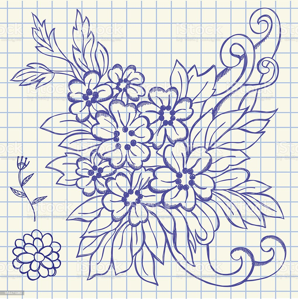 Floral drawing illustration royalty-free stock vector art
