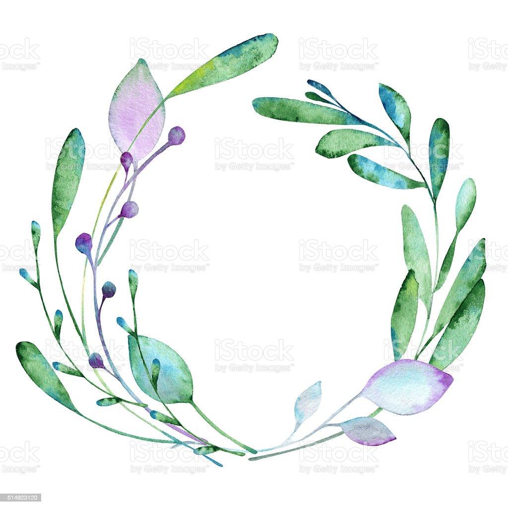 Floral elements paint with watercolors vector art illustration