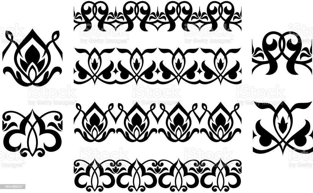 Floral embellishments and ornaments royalty-free stock vector art
